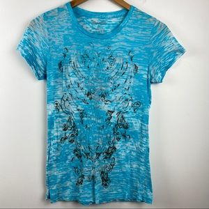 WRANGLER Burn Out Turquoise Western Cowgirl Tee